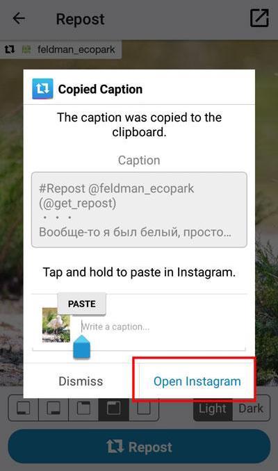 Как сделать репост фотографии в инстаграме